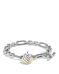 David Yurman Cable Heart Charm Bracelet With Gold Silver Yellow Gold