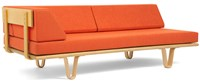 Modernica Case Study Bentwood Daybed With Left Facing Arm Type I Fedora Bitumen Classic Orange