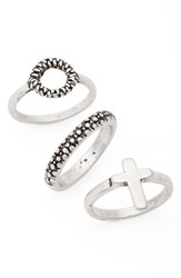 Topshop Women's Set Of 3 Circle And Cross Rings