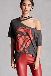 Forever 21 Ripped Rolling Stones Band Tee Charcoal