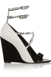 Schutz Textured Leather And Suede Wedge Sandals