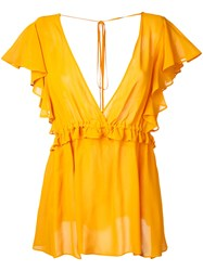 Le Ciel Bleu V Neck Ruffle Blouse Women Rayon 36 Yellow Orange