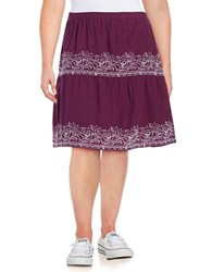 Lord And Taylor Plus Embroidered Cotton Skirt Purple