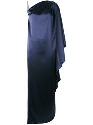 Gianluca Capannolo One Shoulder Draped Dress Blue