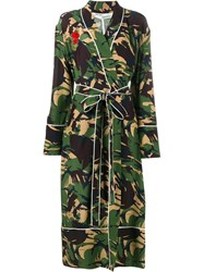 Off White Camouflage Print Robe Green