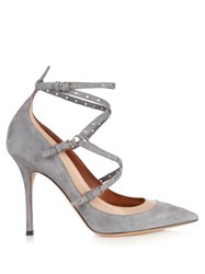 Valentino Love Latch Suede And Leather Pumps Grey Multi
