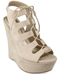 G By Guess Women's Hexen Platform Wedges Women's Shoes Taupe