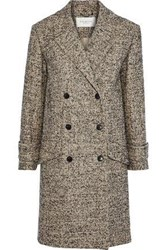 Halston Double Breasted Tweed Coat Neutral