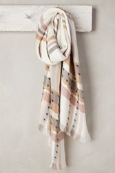 Anthropologie Jeweled Plaid Scarf Cream