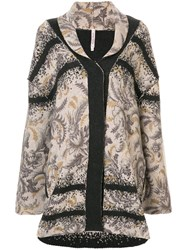 Antonio Marras Floral Knitted Coat Brown