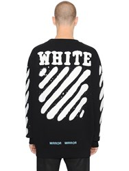 Off White Spray Stripes Cotton Sweatshirt