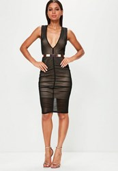 Missguided Black Sleeveless Plunge Ruched Mesh Midi Dress