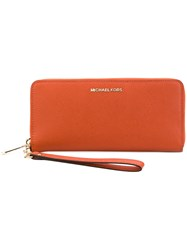 Michael Michael Kors Logo Plaque Zipped Wallet Women Leather One Size Yellow Orange