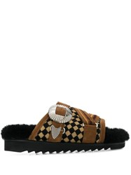 Toga Pulla Checked Pattern Slides Brown