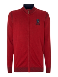 State Of Art Turtle Neck Concealed Zip Cardigan Red