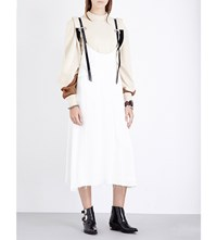 Toga Faux Leather Trim Crepe Dress White
