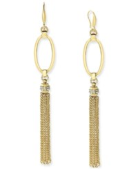 Inc International Concepts Gold Tone Open Oval Linear Fringe Earrings Only At Macy's