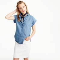 J.Crew Tall Short Sleeve Popover In Chambray