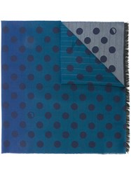 Paul Smith Ps By Dotted Print Scarf Blue