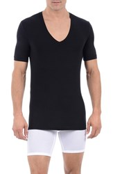 Men's Tommy John 'Cool Cotton' Deep V Neck Undershirt Black