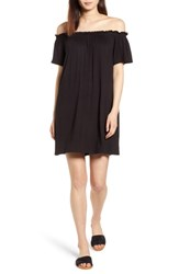Bobeau Off The Shoulder Knit Dress Black