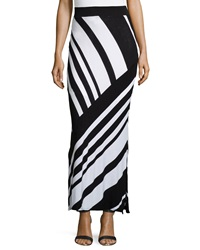 Neiman Marcus Large Stripe Maxi Skirt Black White