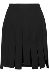 Dkny Fringed Crepe Mini Skirt Black