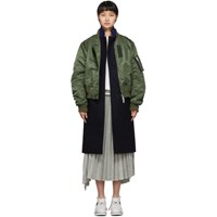 Sacai Navy And Khaki Wool Melton Coat