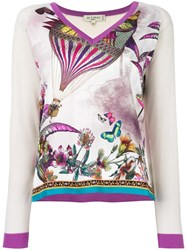 Etro Butterflies Print Knitted Blouse White