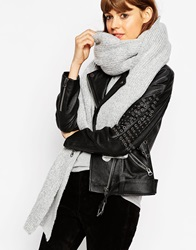 Asos Oversized Extra Long Rib Knit Scarf Lightgrey
