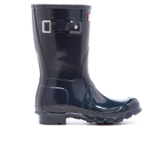 Hunter Women's Original Short Gloss Wellies Navy Blue