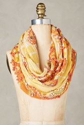 Anthropologie Embroidered Canary Infinity Scarf Tangerine