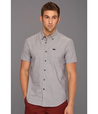 Rvca That'll Do Oxford S S Pavement Men's Short Sleeve Button Up Gray