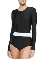 Cover Long Sleeve One Piece Swimsuit Black White