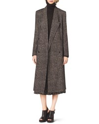 Michael Kors Smudged Plaid Overcoat Graphite
