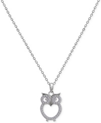 Macy's Cubic Zirconia Owl Pendant Necklace In Sterling Silver No Color