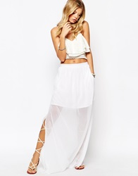 Mango Side Split Maxi Skirt White