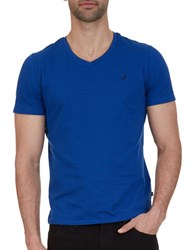 Nautica Slim Fit Striped V Neck Tee Bright Cobalt