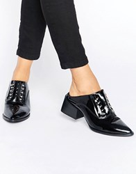 Sol Sana Claire Bar Black Patent Leather Mules Black Patent Leather