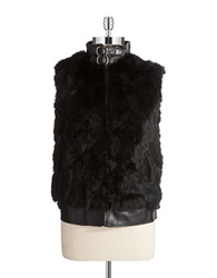 Surell Rabbit Fur And Leather Vest Black