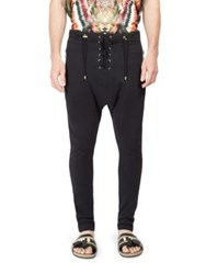 Balmain Lace Up Cotton Trousers Black Beige