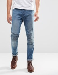 Brave Soul Light Wash Biker Stretch Skinny Jeans Blue
