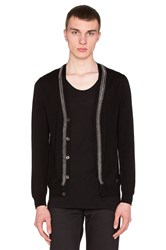 Versace Knit Cardigan With Chain Detail Black