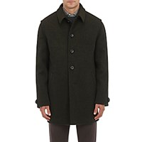 Lodental Men's Wool Mohair Balmacaan Coat Green