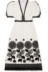 Andrew Gn Fringed Lace Trimmed Woven Dress White