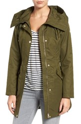 Guess Women's Lace Up Hooded Utility Coat Olive