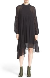 Tibi Women's 'Anai' Asymmetrical Ruffle Shift Dress Black