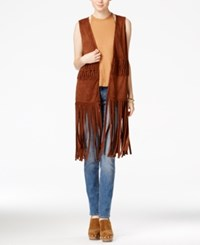 American Rag Juniors' Fringe Faux Suede Vest Only At Macy's Tan