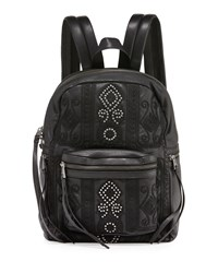 Ash Stevie Small Embroidered Leather Backpack Black