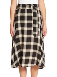 A.L.C. Gabriele Plaid A Line Skirt Black